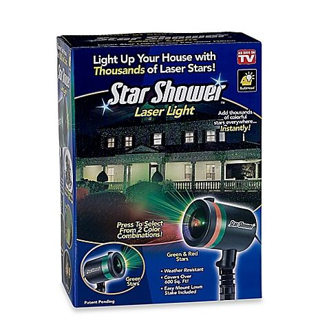 The Star Shower Laser Light lets you easily illuminate your home for the holidays without risking climbing icy ladders to hang lights on your house. Place the Star Shower Laser Light on the lawn to illuminate your landscape and home in seconds.