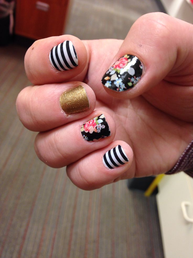 Jamberry Wrap Sweet Nothing Black & White Stripe and Gold Sparkle idea combo