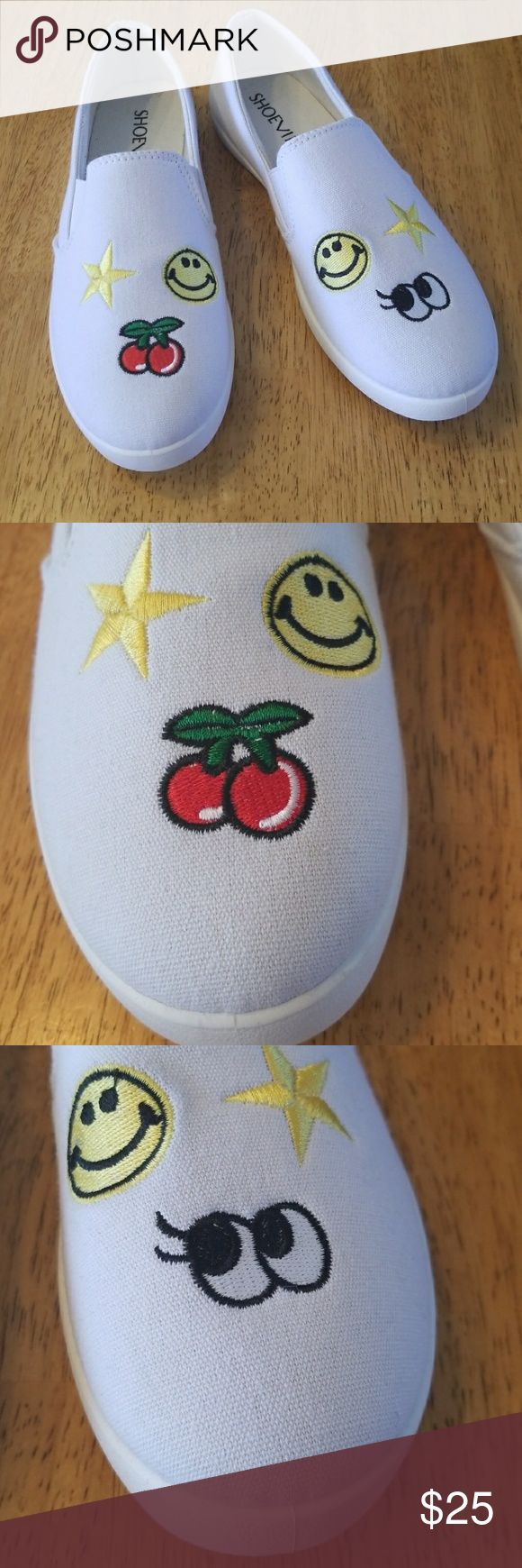 White Slip On Embroidered By Shoe Vibe These Shoes Are Brand New In Box Never Worn  Super Cute Canvas Slip On with Stars Cherries Eyes and Smiley Face Embroidered Tops 😎 Gusseted Sides provides ease of foot entry and comfort stay on fit.  Padded Foot Bed . Box Included  Be Sure To Check Out Additional Listings For this same shoe in Black or Pink as well as listings for men's and kids shoes!  ✔ BUNDLE UP FOR SAVINGS  ✔ Shoe Vibe Shoes