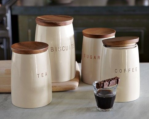 Set Of Four Canisters Labeled For Coffee Tea Sugar And Biscuits Inr 3589 Made Earthenware With A Glossy Cream Col