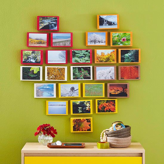 """We """"heart"""" this DIY photo design! Using removable wall hooks, this could be a great decoration for Valentine's Day: http://www.bhg.com/decorating/do-it-yourself/wall-art/wall-art-projects/?socsrc=bhgpin012714photoblocks&page=7"""