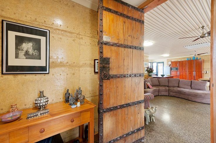 Rammed Earth Feature Wall - Entry