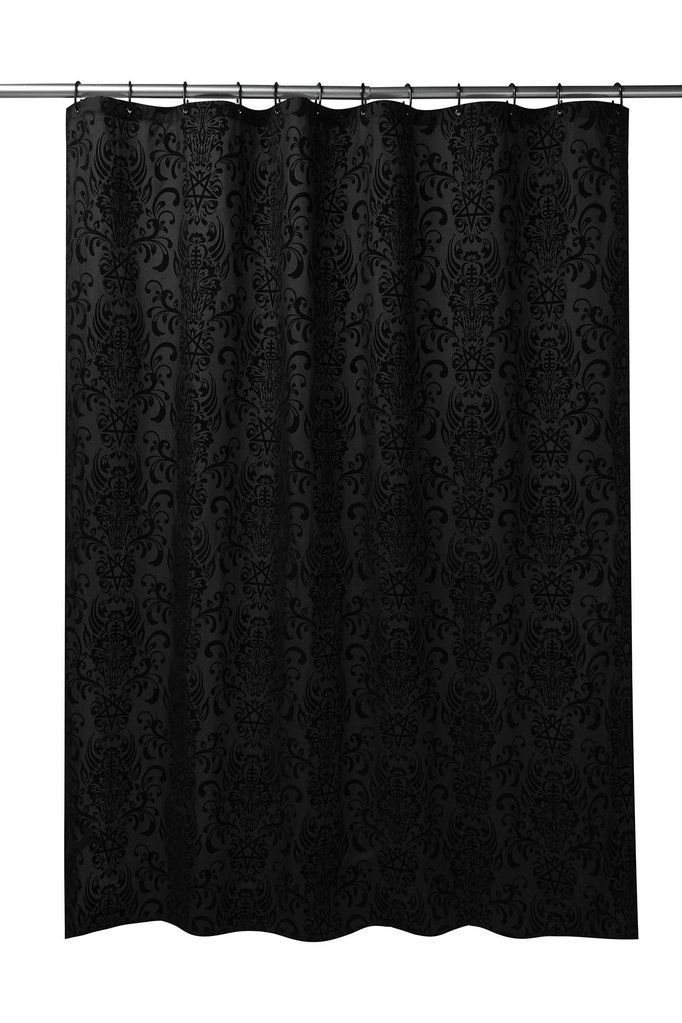 Bloodlust Damask Shower Curtain Black Shower Curtains Black