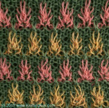 Knitting Stitch - Beautiful Slip Stitch Pattern. It is 20 rows long. There are 7 rows of the main color and 2 rows of the contrast color.  Fireflowers 1 - Knittingfool Stitch Detail
