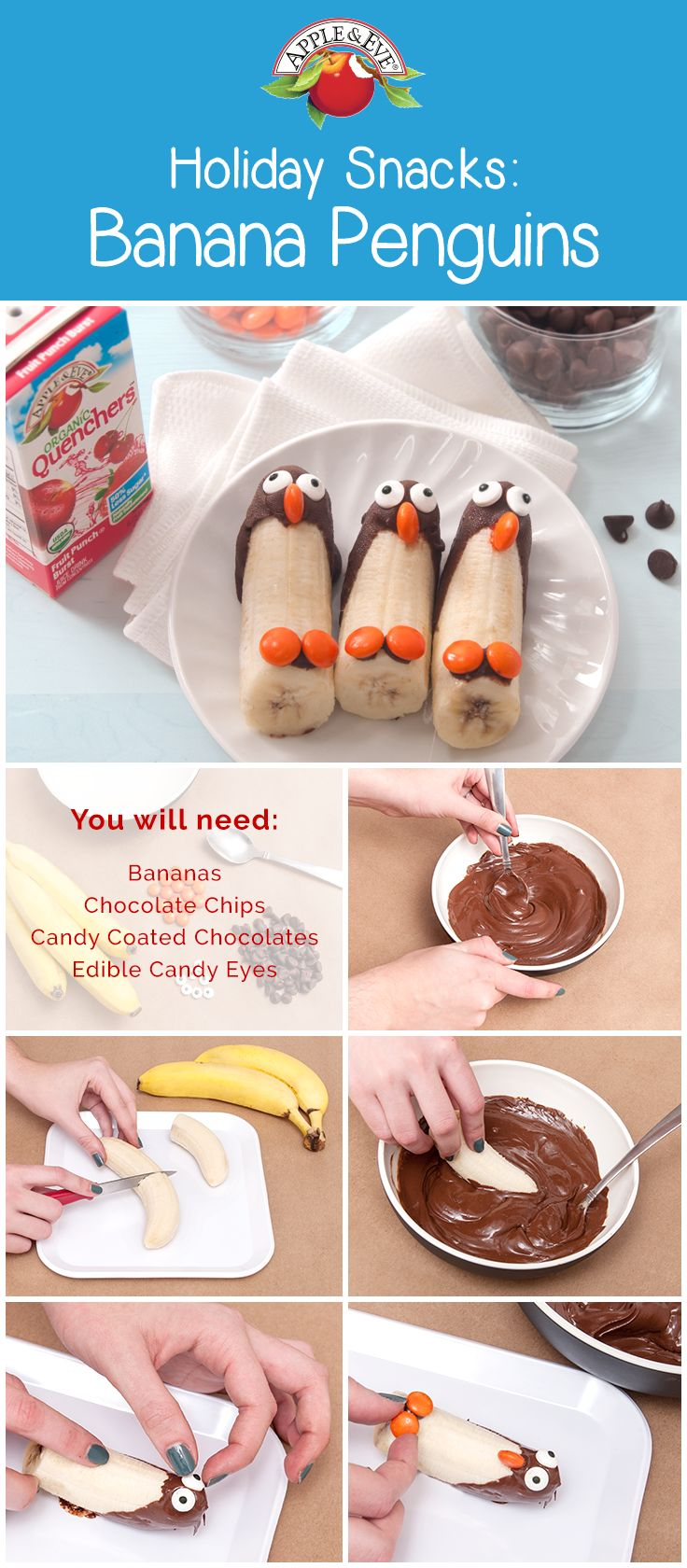 Add some holiday cheer to snack time with these yummy banana penguins!