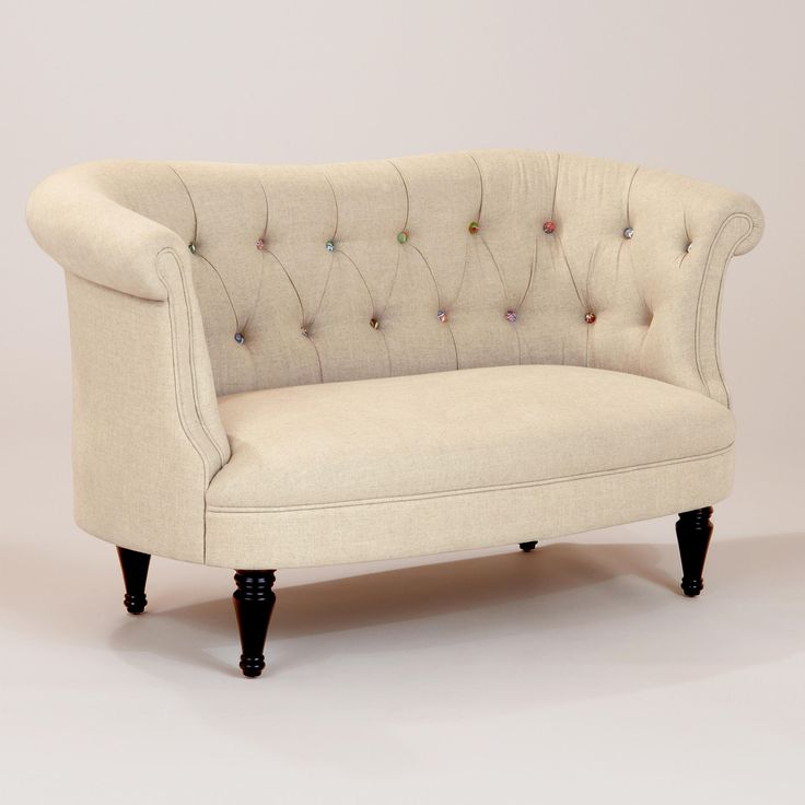 Erin Cute-as-a-Button Loveseat - this loveseat has colorful buttons along the tufted back. LOVE IT!