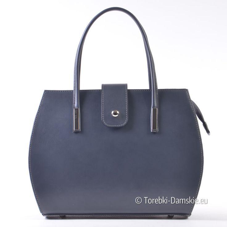 Ekskluzywny skórzany kuferek w kolorze szarym. Elegancka włoska torebka damska w pięknym kolorze, średniej wielkości, z paskiem długim na ramię dopinanym w komplecie. Nowość w kolekcji Torebki-Damskie.eu