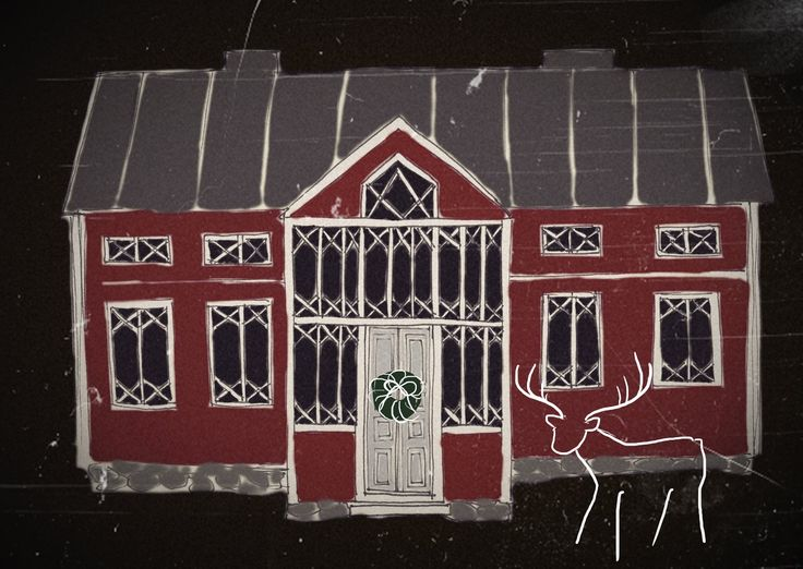 Red Christmas House. Drawing design by Hammi´s Design.