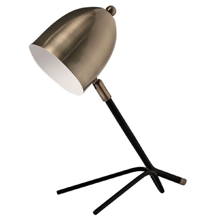 This lamp has a brass metal shade and a metal base