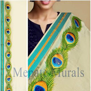 Cute Peacock feather - mural style painting on shawl by Aneesh Mepate (Mepate…