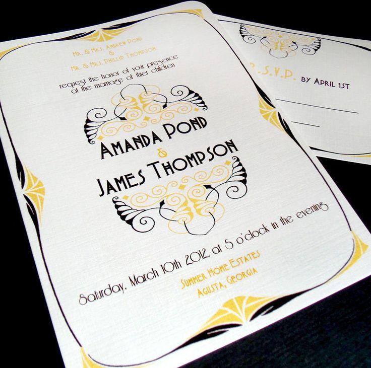 Art Nouveau Wedding Invitations - The 1890 - Art Deco Vintage Style - 1920s wedding - Sample. $2.99, via Etsy.