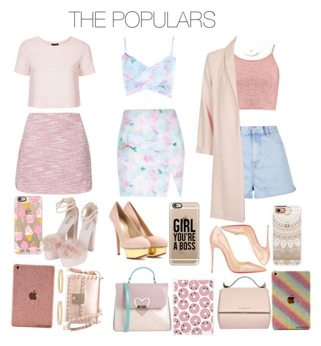 """""""THE POPULARS: Back To School Album"""" by jdyolaleye ❤ liked on Polyvore featuring Topshop, River Island, Charlotte Olympia, Boohoo, Christian Louboutin, Givenchy, Blugirl, Valentino, Skinnydip and Casetify"""