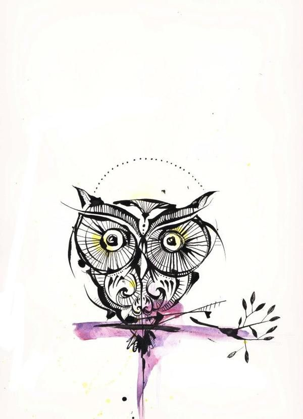 Owl tattoo with a splash of color. I don't want an owl but like the way this is done. Clean lines with a little color