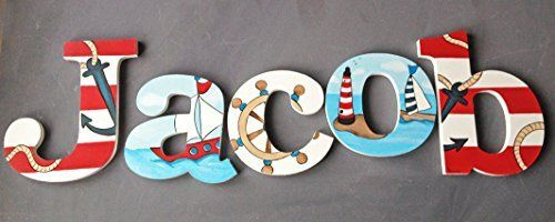 Nautical Wooden Wall Name Letters / Hangings, Hand Painted for Boys Rooms, Play Rooms and Nursery Rooms (3 Letters), http://www.amazon.com/dp/B00S35TJS8/ref=cm_sw_r_pi_awdm_sl4dvb0Q38MC6