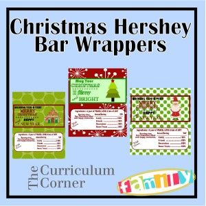 FREE printable Christmas themed Hershey bar wrappers - make great gifts for helps and neighbors!