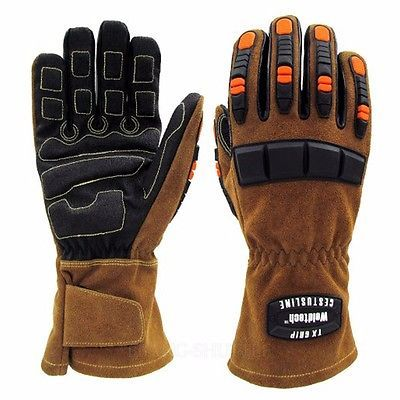 Gauntlet Leather Gloves Heat Cut Resistance Gel Impact Protection Welding Medium in Business & Industrial, MRO & Industrial Supply, Safety & Security | eBay
