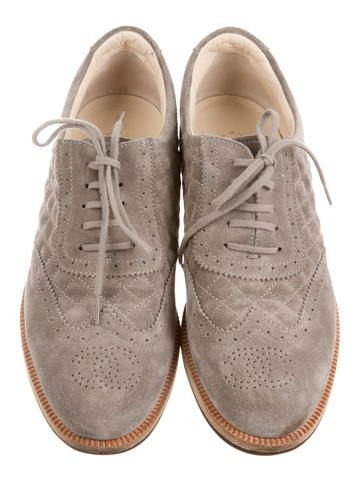 Chanel Suede Round-Toe Oxfords