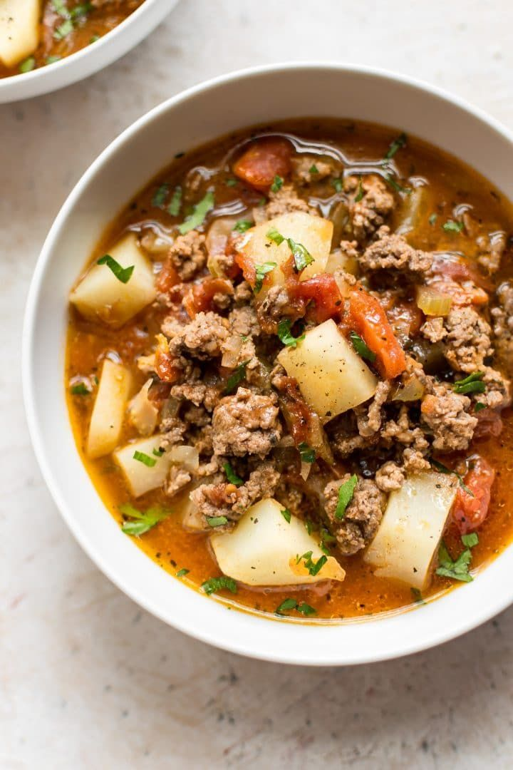 This Hamburger Soup Recipe Is A Simple And Hearty Meal Made With Ground Beef Potatoes And A Delic Soup With Ground Beef Beef Soup Recipes Easy Hamburger Soup