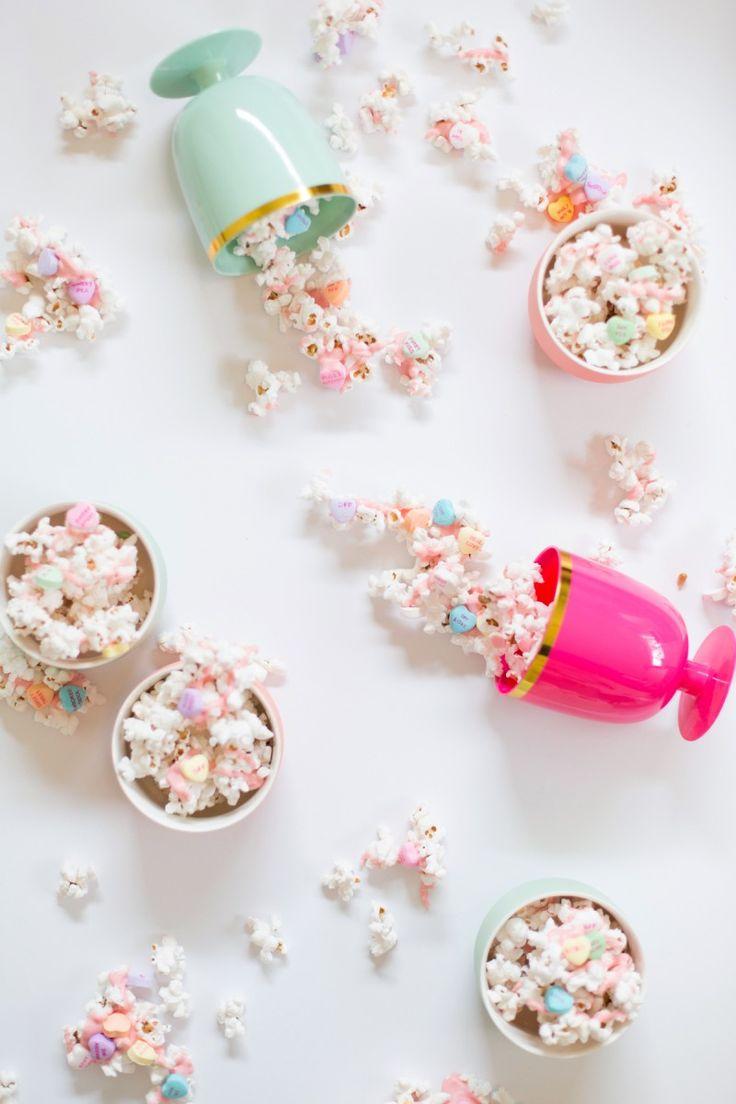 Pink Chocolate & Conversation Heart Popcorn @LovelyIndeed