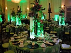 green inspired or musical wicked themed tables and room - Halloween Themed Wedding Reception