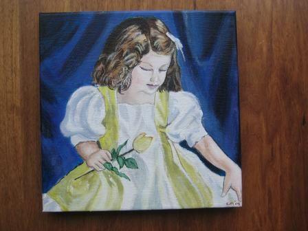 meisje in gele jurk, acrylverf schilderij op canvas-doek. 24 x 24 cm.