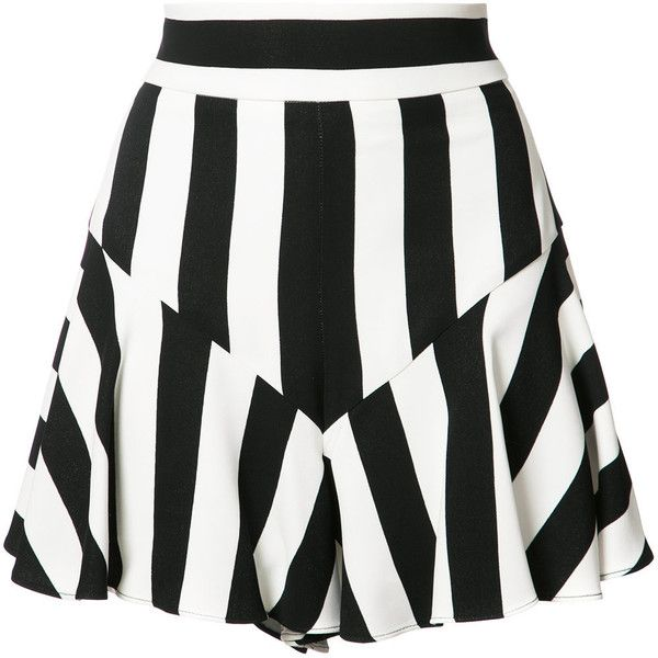 Milly striped ruffled shorts ($285) ❤ liked on Polyvore featuring shorts, black, frilly shorts, milly shorts, flounce shorts, stripe shorts and ruffle trim shorts