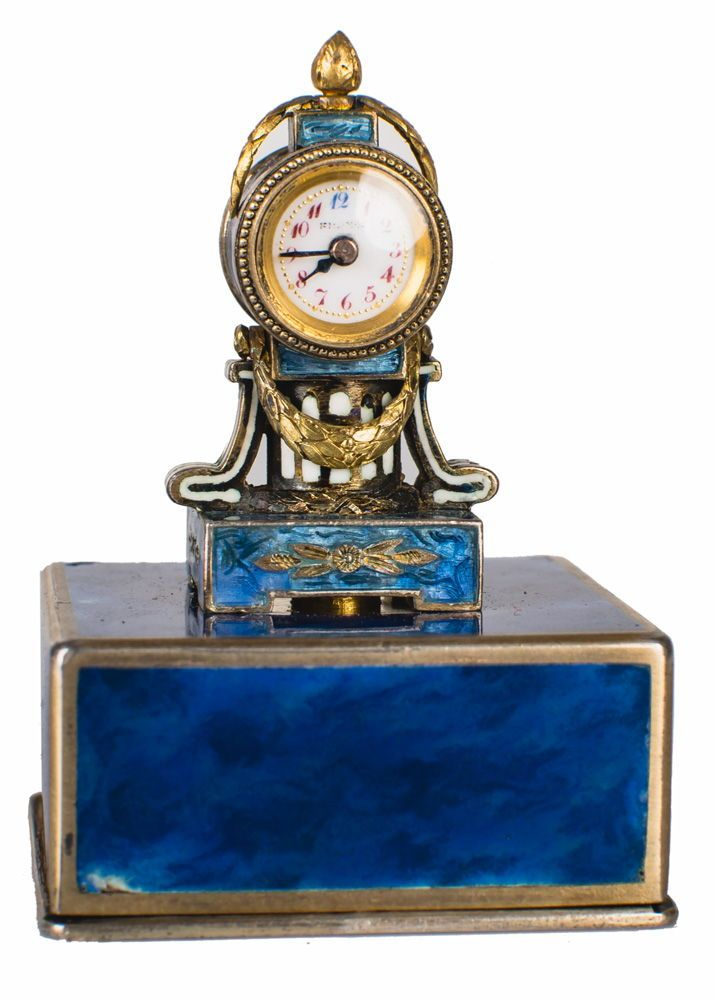 Miniature Silver Enamel Clock Sold At Abell Auction Company Of Los Angeles Visit Abell Com Antique Pendulum Wall Clock Antique Wall Clocks Classic Clocks