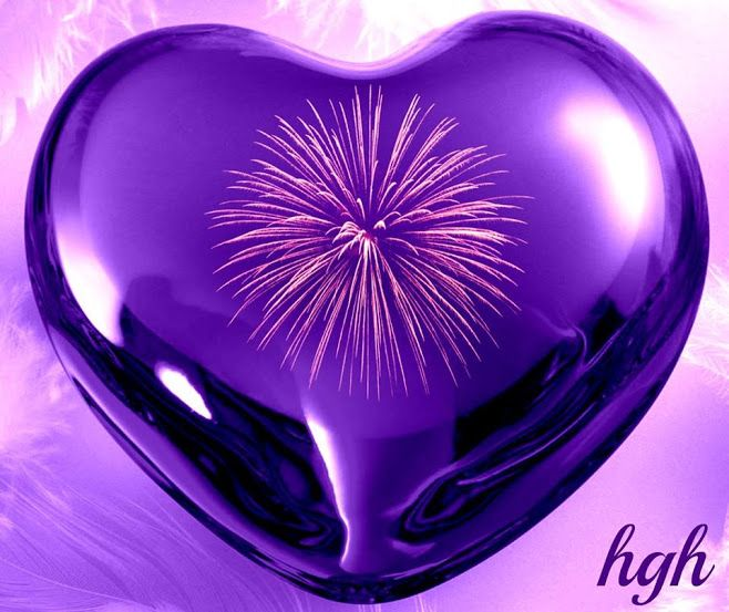 Purple Heart with Fireworks - It must be love!
