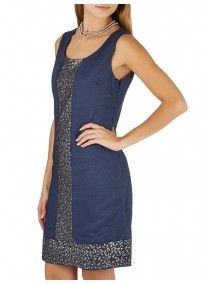 G.COUTURE | Linen Dress with Sequin Detail Navy