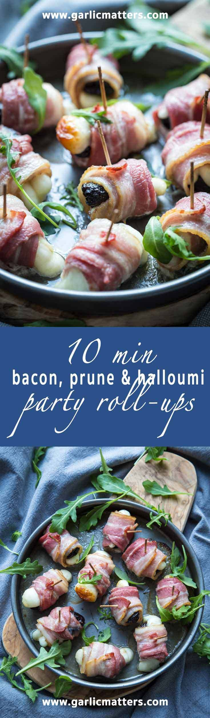 10 min bacon, prune and halloumi party roll-ups are the easiest, warm, delicious party snacks everybody wants more of!