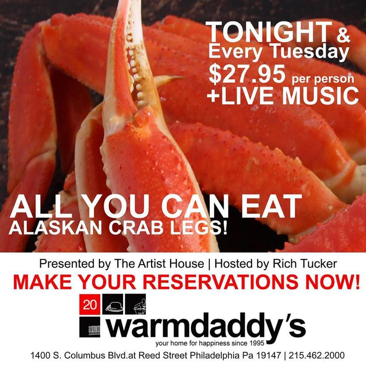 Who's Hungry??? TONIGHT and every Tuesday join us for ALL YOU CAN EAT Alaskan Crab Legs!  MAKE YOUR RESERVATIONS NOW! $27.95 per person  LIVE MUSIC presented by The Artist House and hosted by Rich Tucker!  Log on to warmdaddys.com or call 215-462-2000 for more information. #LiveMusic #CrabLife #CrabLegs #AllYouCanEat #DinnerDate #PhillyFood #crablover #PhillyMusic