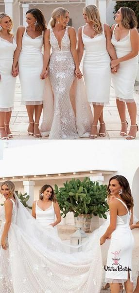 5c95ff7956a Classy White Straps Long Column With Lace Bridesmaid Dresses ...