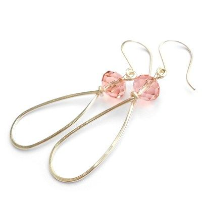 Coral Crystal Wire Teardrop Handmade Earrings  £10.00  Silver plated (non-tarnish) wire has been hand shaped and hammered and then adorned with coral crystal glass faceted beads, on handmade earwires. Drop from ear: apx 2 inches.