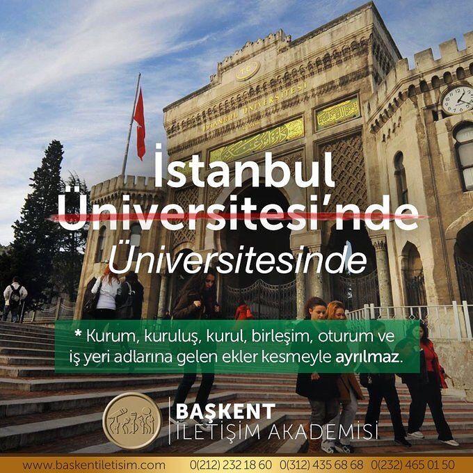 İstanbul Üniversitesinde. Kurum, kuruluş, kurul, birleşim, oturum ve iş yeri adlarına gelen ekler kesmeyle ayrılmaz. (Kaynak: Instagram - baskentiletisim) #türkçe #türkçedili #bilgi #kelime #kelimeler #anlam #özet #kökeni #güzel #güzelkelimeler #bazıkelimelerçokgüzel #lügat #doğrutürkçe