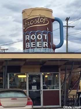 Frostop Drive Inn off of McClellan Highway has a rotating rootbeer mug sign | Huntington, WV