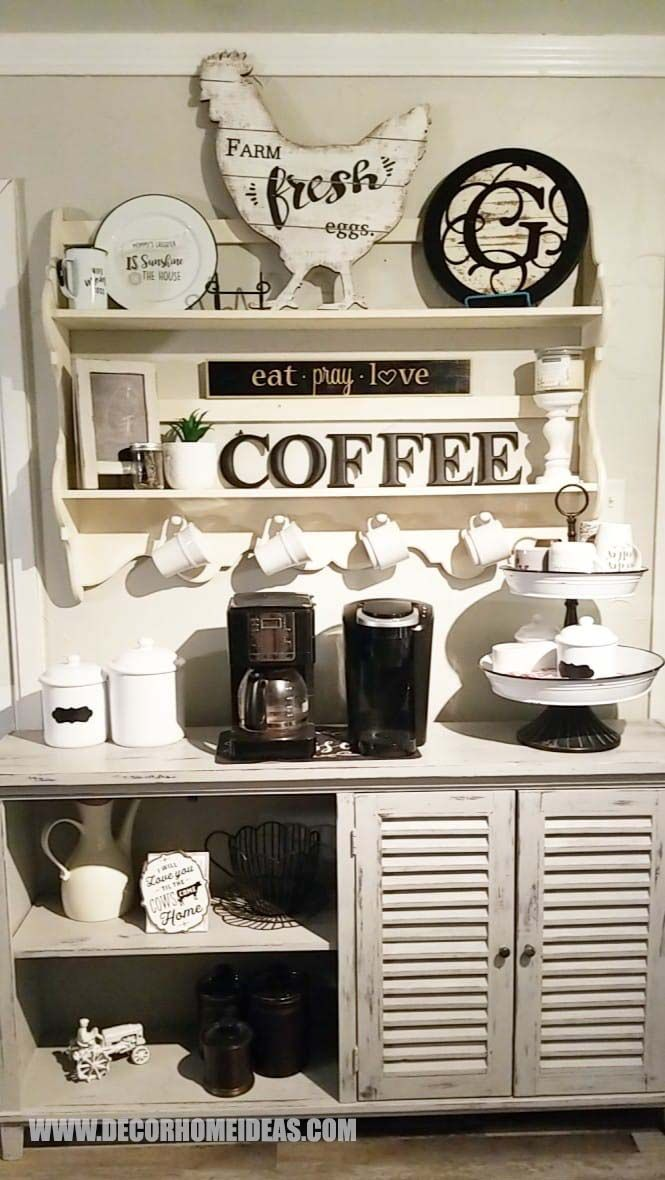 100 Best Diy Coffee Bar Ideas For All Coffee Lovers In 2020 Farmhouse Coffee Bar Diy Coffee Bar Coffee Bar Home