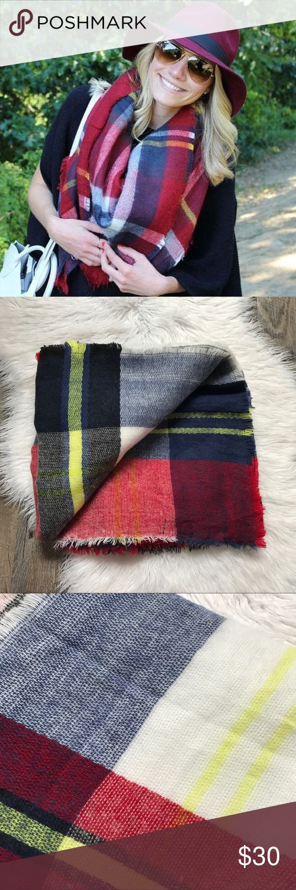 Zara Plaid Tartan Blanket Scarf Blue yellow red and white large plaid blanket scarf from Zara. Excellent condition. No trades! Zara Accessories Scarves & Wraps