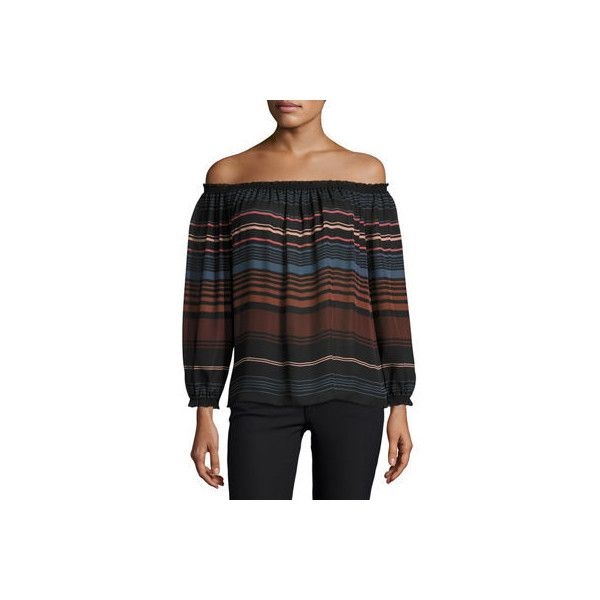 Joie Bamboo Off-the-Shoulder Striped Silk Top (35565 ALL) ❤ liked on Polyvore featuring tops, black, smocked top, off the shoulder long sleeve top, long sleeve tops, striped off-the-shoulder tops and stripe top
