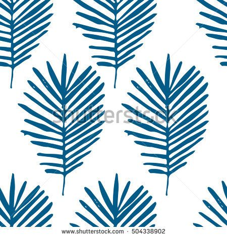 Tropical background with blue hand drawn palm leaves on white. Tropic seamless pattern. Vector.