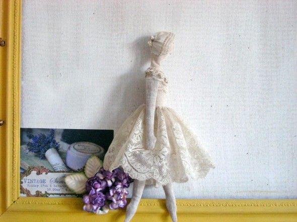 Handmade Vintage lace and linen Doll