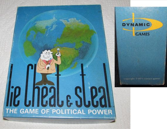 Vintage Board Game Lie Cheat Steal   The Game of by PuppyLuckArt