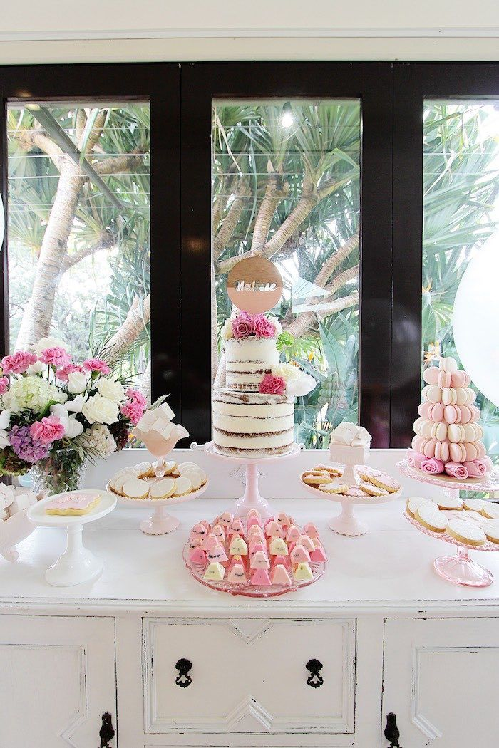 Pretty in Pink Baptism Dessert Table via Kara's Party Ideas | KarasPartyIdeas.com (8)