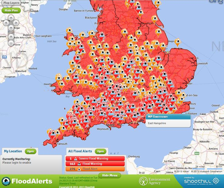 Interactive Flood Warnings Map for United Kingdom