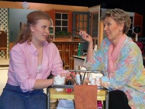 """Christina Stewart as Shelby and Connie Stewart as Truvy in """"Steel Magnolias"""""""