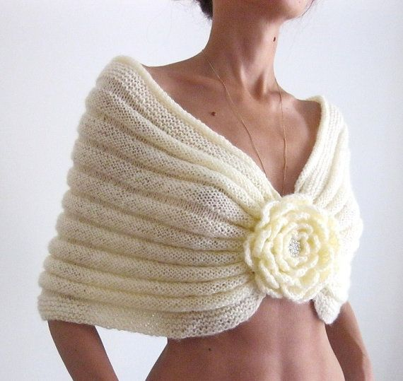 On Sale...Handknitted   Mohair Capelet with a Flower brooch in champagne color