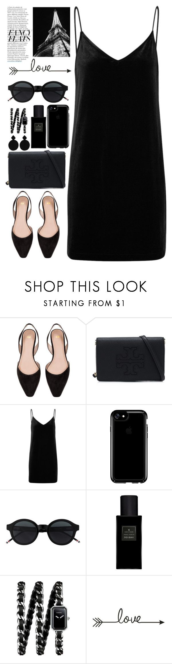 """black fancy flats ⚫⚫⚫♡♡♡"" by licethfashion ❤ liked on Polyvore featuring H&M, Tory Burch, rag & bone/JEAN, Speck, Yves Saint Laurent, Chanel, Kenneth Jay Lane, Anja and chicflats"