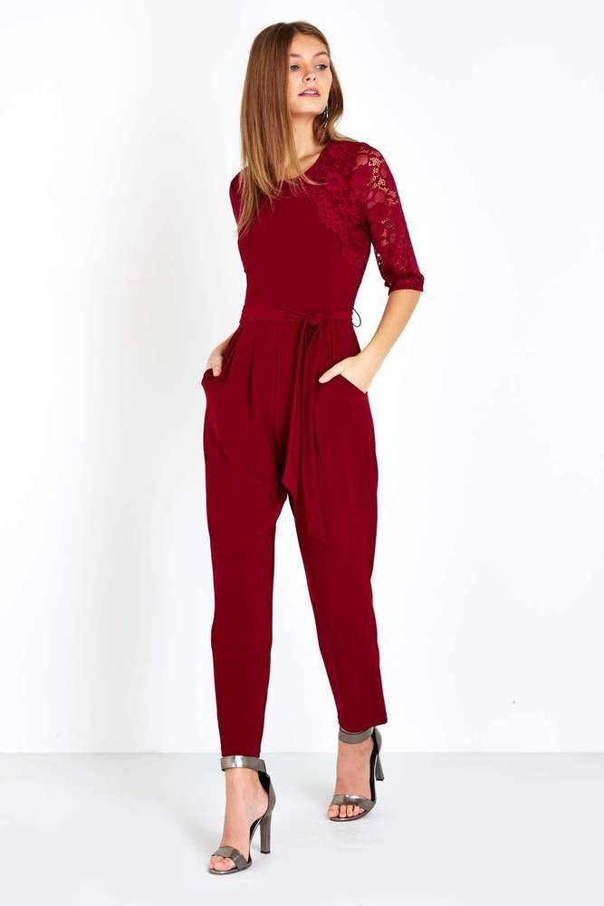 NEW WALLIS BURGUNDY RED EMBROIDERED MESH LACE JUMPSUIT 8 to 18 RRP £55