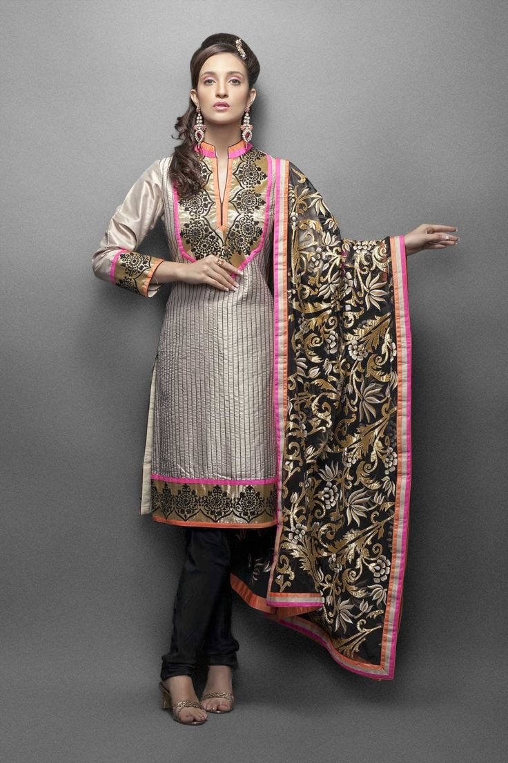 Beige & Black suit with resham embroidery and gold applique dupatta
