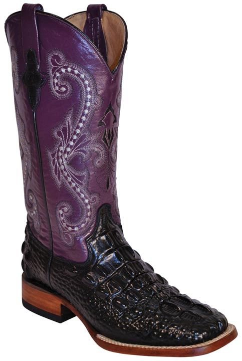 "Ferrini Women's Hornback Caiman Print 12"" Square Toe Cowboy Boots - Black/ Purple $132.00"