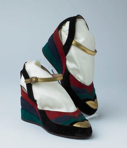 Suede Wedges - 1939 - Made by Russell and Bromley, London - National Museums Liverpool